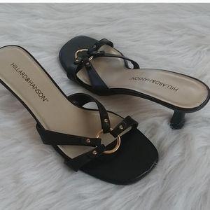 Chocolate Brown Slip On Heeled Sandals